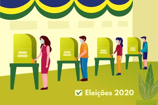 Brazilië mensen stemmen wachtrij met gezichtsmasker Premium Vector