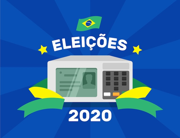 Brazilië verkiezingen 2020 illustratie Gratis Vector