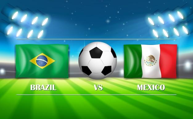Brazilië versus het voetbalstadion van mexico Gratis Vector