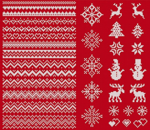 Brei trui-elementen. kerst naadloze randen. Premium Vector