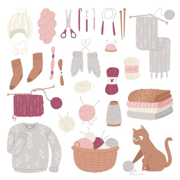 Breinaalden wol breigoed of gebreide wollen trui en kitten met wollige bal handbreien logo set illustratie geïsoleerd op een witte achtergrond Premium Vector