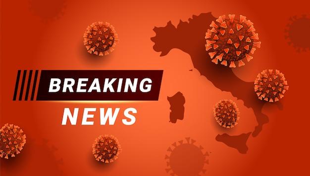 Brekend nieuws covid-19 coronavirus concept met kopie ruimte. de wereldkaart van italië op rode achtergrond. Premium Vector