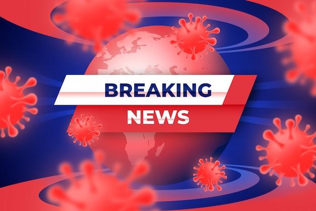 Brekend nieuws over de achtergrond van het coronavirus Gratis Vector