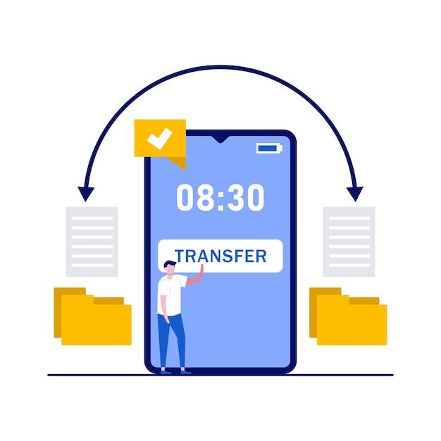 Breng gegevens en documentconcept over met tekens. bestanden kopiëren, gegevensuitwisseling, synchronisatie-app, bestanden delen via internet. Premium Vector