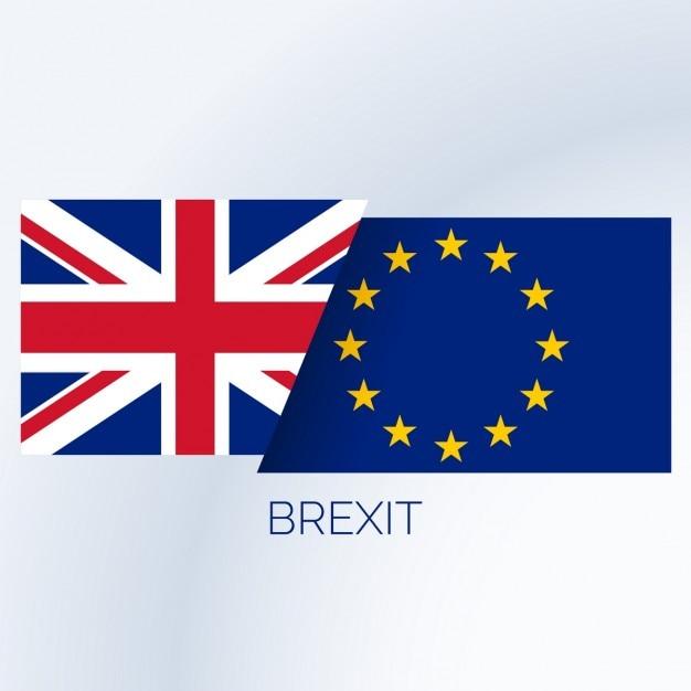 Brexit concept achtergrond met de britse en europese vlaggen Gratis Vector