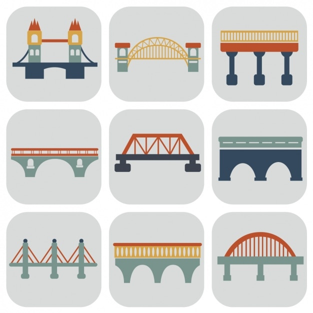 Bridges iconen collectie Gratis Vector