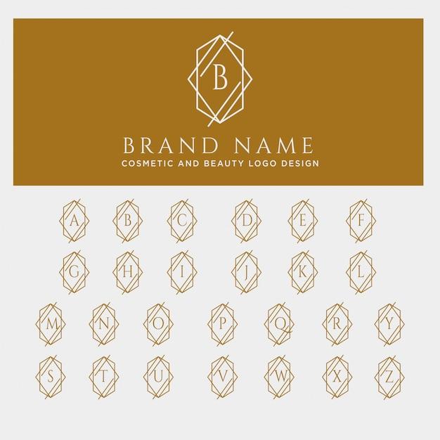 Brief az schoonheid cosmetische lijn kunst logo sjabloon Premium Vector