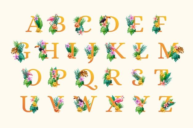 Brief met bladeren en bloemen Premium Vector
