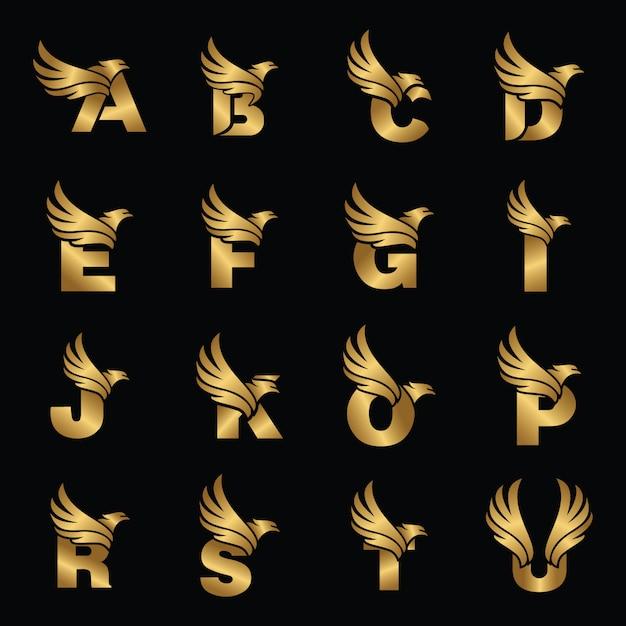 Brief met eagle gold logotype sjabloon Premium Vector