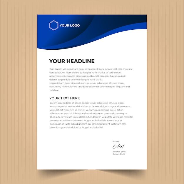 Briefhoofd sjabloonontwerp met moderne elementen en blauwe kleuren Premium Vector