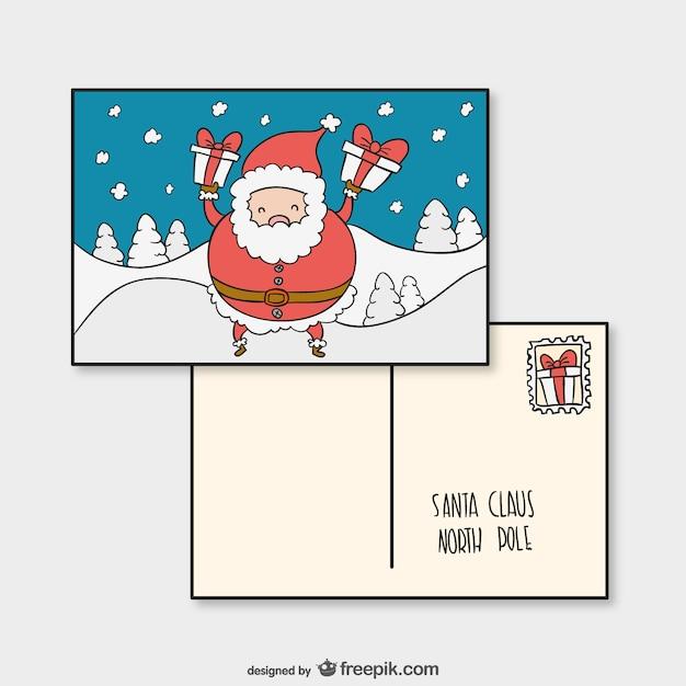 Briefkaartsjabloon met de kerstman Gratis Vector