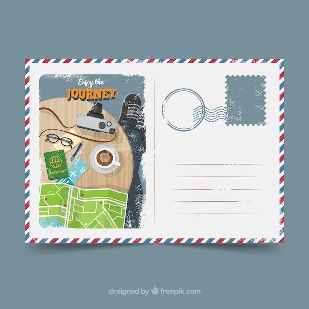 Briefkaartsjabloon reizen Premium Vector