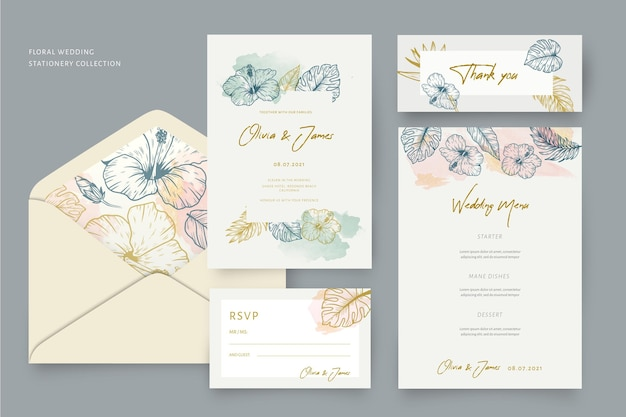 Briefpapier bruiloft set met florale versieringen Gratis Vector