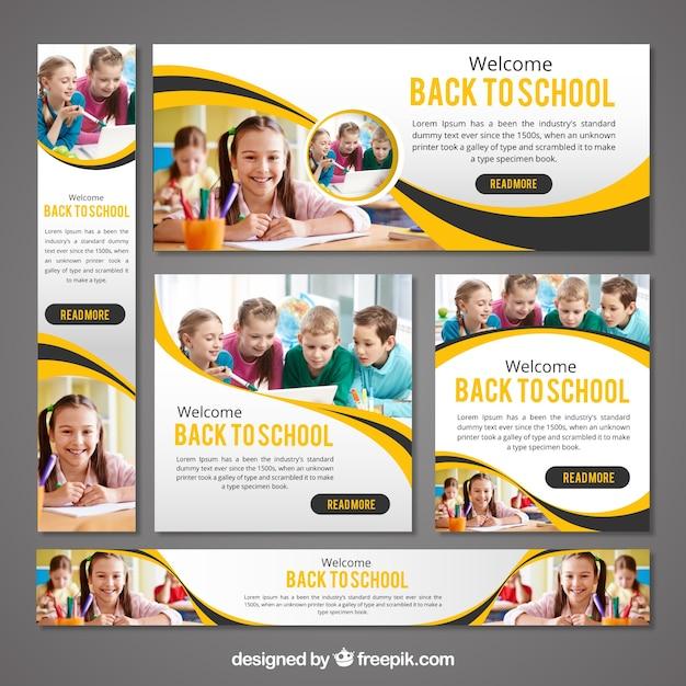 Briefpapier set van terug naar school banners Gratis Vector