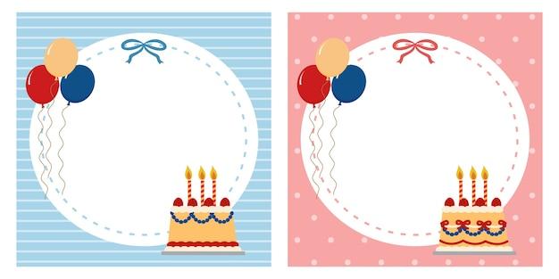 Briefpapier vierkante memo notitieblok lege sjabloon. uitnodiging voor verjaardagsfeestje voor jongen en meisje. framerand. Premium Vector