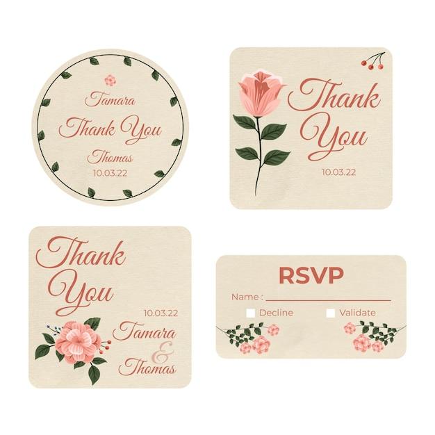 Briefpapiercollectie voor bruiloft Gratis Vector