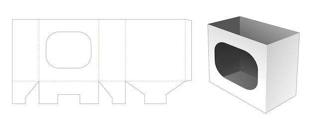 Briefpapierdoos met venster gestanst sjabloon Premium Vector