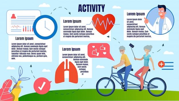Bright banner fysieke activiteit mensen op oudere leeftijd. Premium Vector