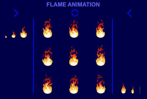 Bright fire flame-animatieset Gratis Vector