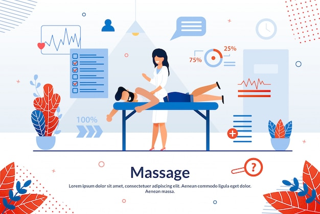 Bright flyer inscriptie massage cartoon plat. Premium Vector