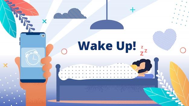 Bright flyer inscription word wakker! wekker. Premium Vector