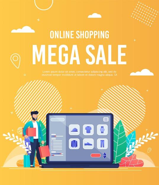 Bright flyer online winkelen mega sale belettering. Premium Vector