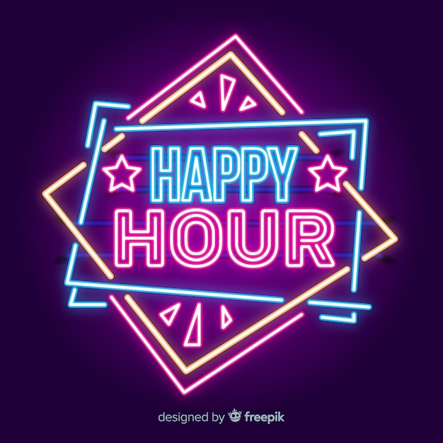 Bright happy hour neon bord Gratis Vector