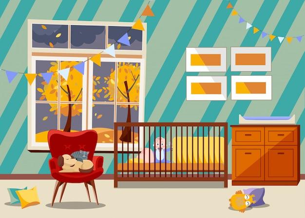 Bright pasgeboren kind kinderkamer interieur, slaapkamer meubels. kinderkamer met speelgoed, fauteuil met slapende kat en hond. Premium Vector