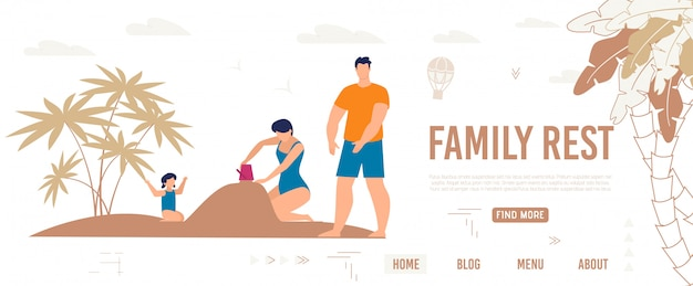 Bright poster inscriptie familie rest, cartoon. Premium Vector
