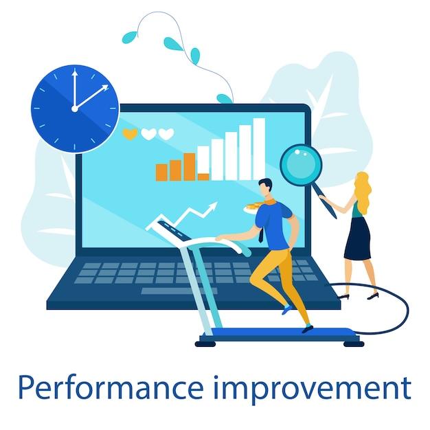 Bright poster is geschreven verbetering van de prestaties. Premium Vector
