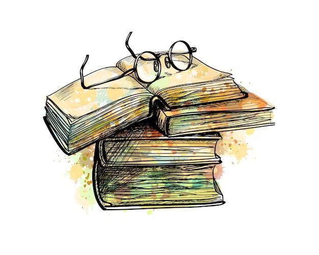 Bril op stapel boeken bovenaan en open boek uit een scheut aquarel, handgetekende schets. illustratie van verven Premium Vector