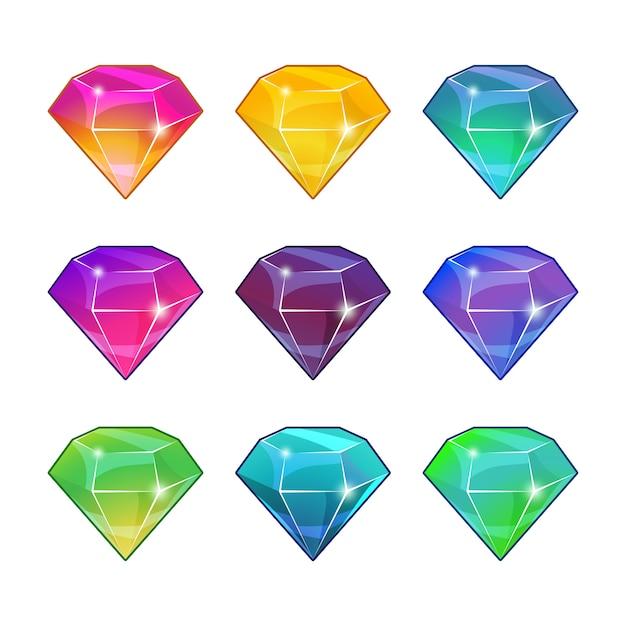 Briljante diamanten in verschillende kleuren. vector cartoon instellen voor game-design Premium Vector