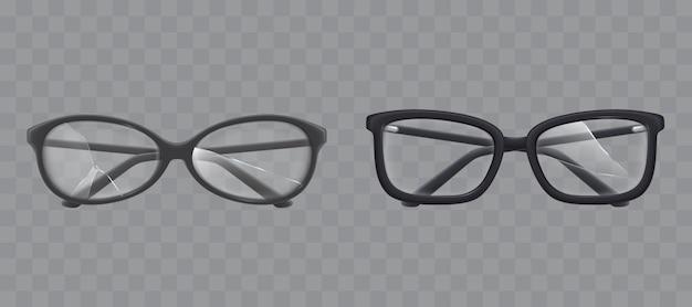 Brillen met verbrijzelde glas realistische vector Gratis Vector