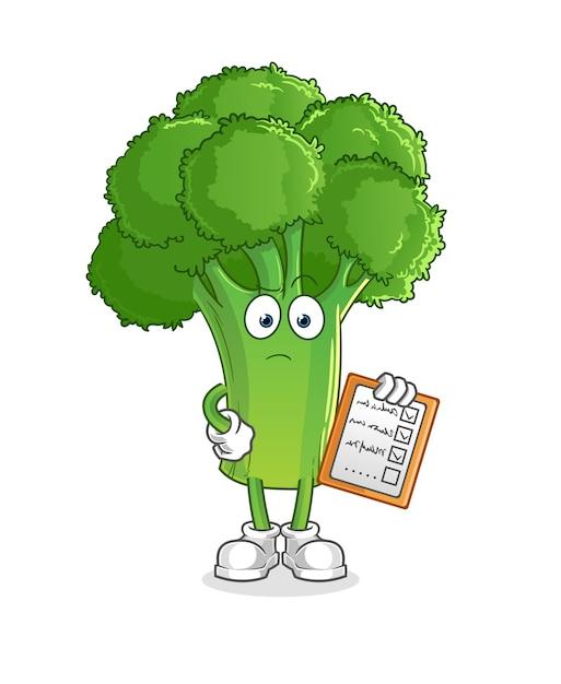 Broccoli schema lijst. stripfiguur Premium Vector