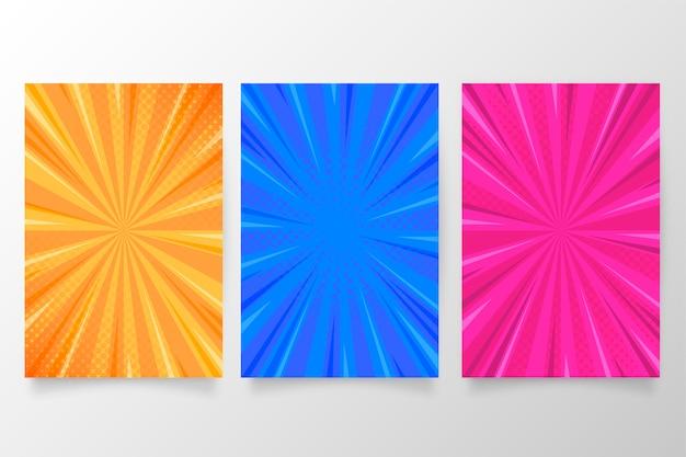 Brochure collectie in kleurrijke komische stijl Gratis Vector