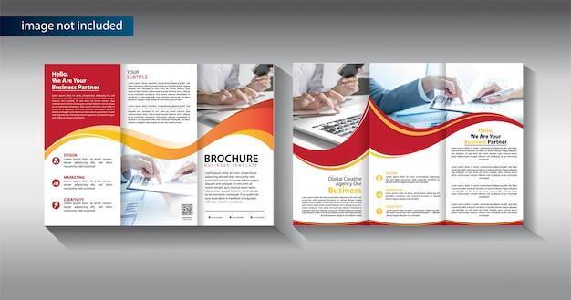 Brochure driebladige bedrijfssjabloon voor promotiemarketing Premium Vector