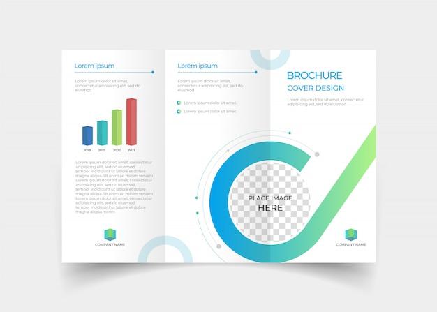 Brochure driebladige ontwerpsjabloon Premium Vector