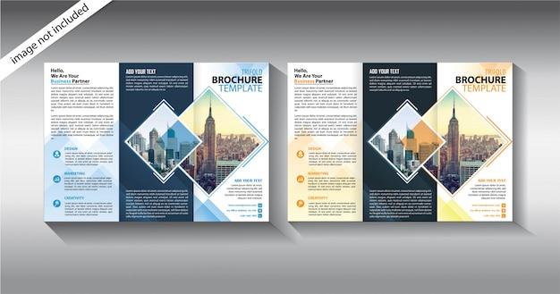 Brochure driebladige sjabloon voor promotie bedrijf Premium Vector
