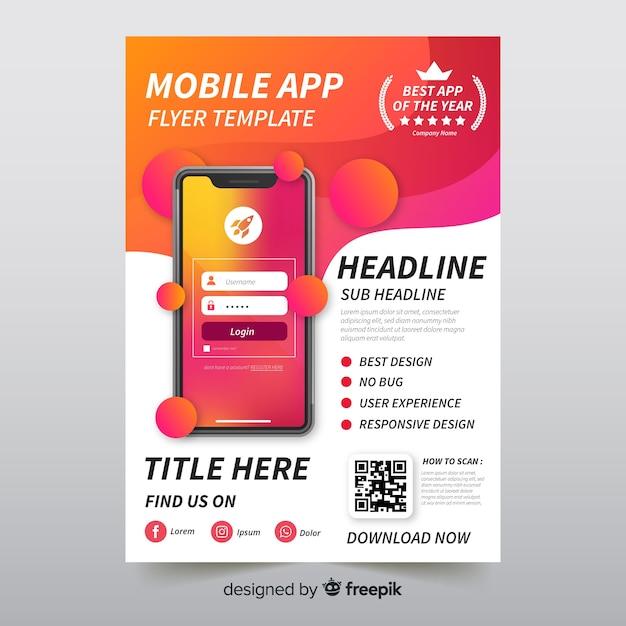 Brochure mobiele app-brochure Gratis Vector