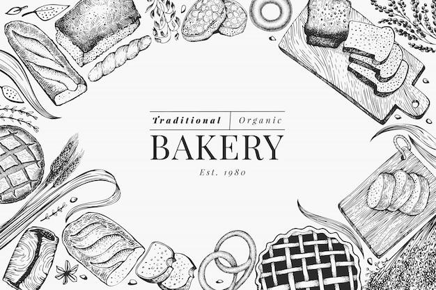 Brood en gebak frame achtergrond. vector bakkerij hand getekende illustratie. vintage ontwerpsjabloon. Premium Vector