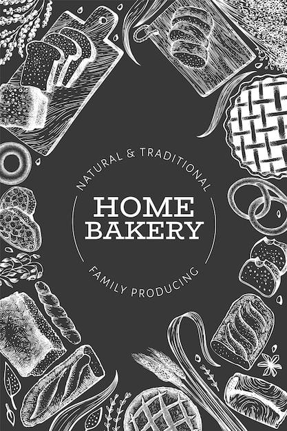 Brood en gebak poster embleem. vector bakkerij hand getekende illustratie op schoolbord Premium Vector