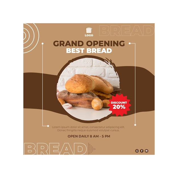 Brood flyer vierkante concept Gratis Vector