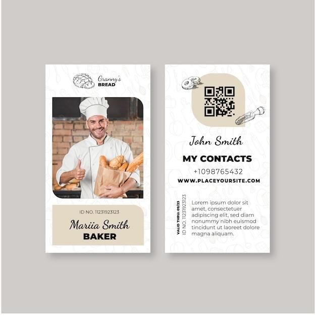 Brood identiteitskaartsjabloon met foto Gratis Vector