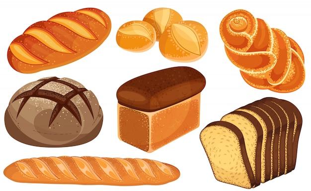 Brood pictogrammen instellen. lang brood, roggebrood, stokbrood, broodjes, witbrood, gesneden brood, brioche. Premium Vector