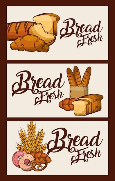 Brood verse banners heerlijk eten Premium Vector