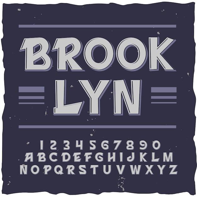 Brooklyn achtergrond met vierkant frame en vintage lettertype met lijnen cijfers en letters illustratie Gratis Vector