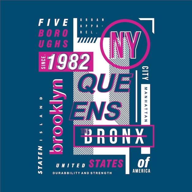 Brooklyn tekstkader typografieontwerp Premium Vector