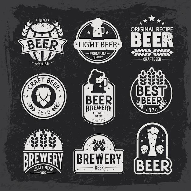 Brouwerijemblemen en emblemenontwerp. Gratis Vector