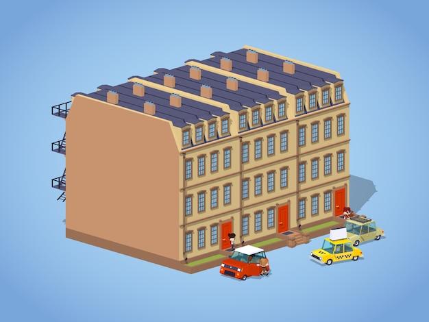Brownstone herenhuis Premium Vector