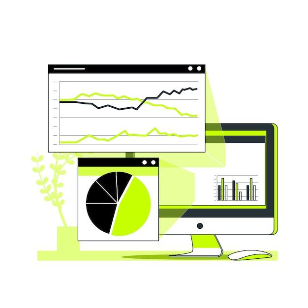 Browser statistieken concept illustratie Gratis Vector